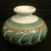 Small Studio Pottery Bud Vase / Inkwell  Leaf Leaves Decoration--Signed DFE