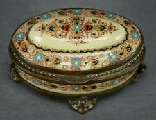 19th Century French Bressan Jeweled Enamel on Copper Trinket Box Casket
