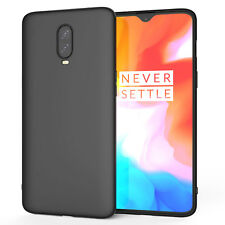 OnePlus 6T Case, Slim Silicone Ultra Soft Gel Best Phone Cover - Matte Black