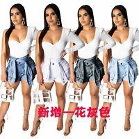 Women Fashion High Waist Pockets Cutoff Short Jeans Casual Short Denim Pants