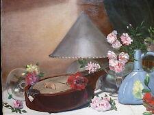 NATURE MORTE MANDOLINE INSTRUMENT MUSIQUE PICHET FLEURS signé MANTAUX 1932 XX