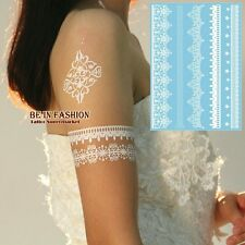 White Henna Temporary Tattoo Flowers Braclets Arm Henna Wedding Lace Tattoo Kit