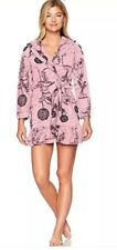 New BETSEY JOHNSON ROBE Very Soft Pink Black Floral Love Notes Ruffle Hood NWT