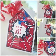 5 x Spiderman personalised Party Bag tags thank you TAGS PARTY BAG LABELS