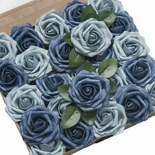 Ling'S Moment Roses Artificial Flowers 50Pcs Realistic Dusty Blue Fake Roses W/S