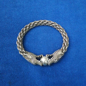 Nationality Hand carved Dragon head Miao Silver bracelet