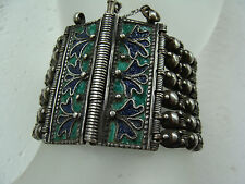 Antique Sterling Silver Islamic Belly Dancing Bracelet Enameled Persian Turkomen