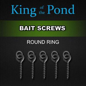 Bait screws with 3.7mm round ring matt black - 12mm long, Qty 10 - carp fishing