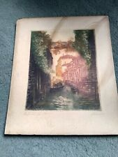 Antique Itialian Venice ?  Signed Aquatint Etching signed by artist