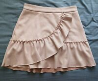 River Island Women's Pink Faux Suede Frill Skirt Size 8 Good Used Condition