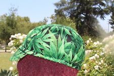 CYCLING CAP CANNABIS  100%  COTTON HANDMADE IN USA  ANY SIZE