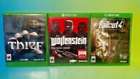 Fallout 4, Thief, Wolfenstein The New Order - XBOX ONE 3 Game Lot Bundle Tested