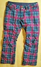 Womens Burton Society Hex Radiant Pink Plaid Dry Ride Snowboard Pants Size Small