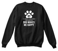 My Curly Coated Retriever Makes Me Happy Hanes Unisex Crewneck Sweatshirt