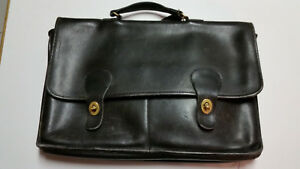 """Vintage """"Coach"""" Leather Briefcase with 2 Front Pockets - Reconditioned by Coach"""