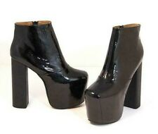 Jeffrey Campbell Big Love Black Patent Leather Platform Heel Boots Size US 9