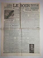 N1190 La Une Du Journal Le Soir 9 novembre 1943 la conférence de Berlin