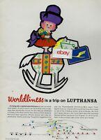 LUFTHANSA GERMAN AIRLINES WORLDLINESS IS TRIP ON LUFTHANSA 1964 HOBBY HORSE AD