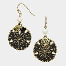 Beach Ocean Sand Dollar Embossed Charm Pearl Drop Earrings  Blk/Gld