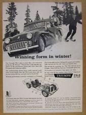 1960 Triumph TR-3 TR3 driving on snow skiers skiing photo vintage print Ad