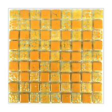 Yellow Fused Glass Mosaic Tiles Sheets Borders Hand-Painted