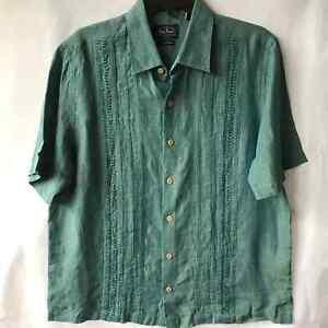 NAT NAST Linen Iridescent Teal short sleeve button Men's M shirt Island Shimmer