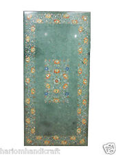 4'x2' Green Marble Dining Table Top Inlay Rare Floral Mosaic Art Work Decor H406