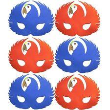 3 Red & 3 Blue Parrot Foam Masks - Animal Fancy Dress For Children & Grown Ups