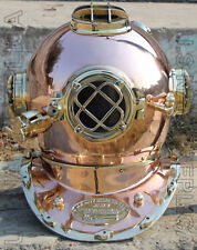 "U.S NAVY MARK V SOLID COPPER & BRASS DIVING DIVERS HELMET 18"" VINTAGE HANDMADE"