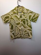 Genuine Hawaiian Aloha Shirt - M - True vintage Olive and cream Wide open collar