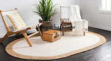 Oval Shaped Rug Natural Jute Braided Hand Woven Reversible Area Rug 6x9 Feet Rug