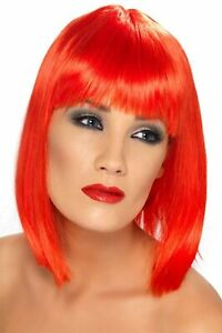 Adult Glamour Glam Shoulder Length Straight Hair with Bangs Neon Red Costume Wig