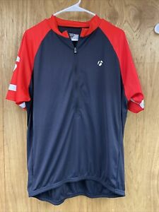 Bontrager Cycling Shirt Large Red Black 1/2 Zip Pullover Solstice Jersey