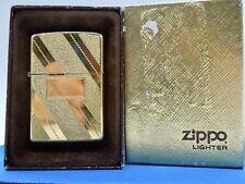 VINTAGE 1979 #34 DIAG. SWIRL GOLD TONE ZIPPO LIGHTER RARE BROWN BOX PREOWNED CON