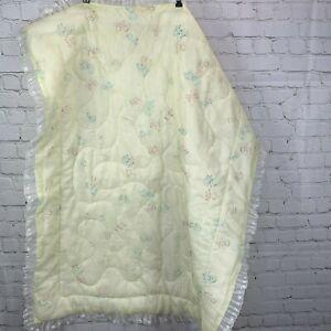 Vintage Baby Blanket Lace Trim Animals Bear Bunny Duck Yellow Nylon 33x42 Quilt