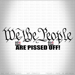 WE THE PEOPLE ARE PISSED OFF Vinyl Decal Sticker Political View Constitution USA
