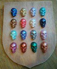 ORIGINAL METALLIC SKULLS 3D HANGING SHIELD ARTWORK unusual xmas gift see pics