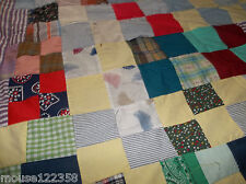 vintage quilt top cotton squares gingham check trim Hand stitched