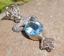 BLUE TOPAZ NATURAL 925 STERLING SILVER PENDANT WITH GIFT BAG
