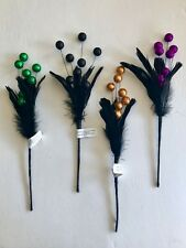 Halloween Floral Ball Feather Pick Glitter Wreath/arrangement/Tree Decor Craft
