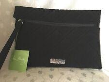 Vera Bradley Slim Wristlet Clutch Bag Classic Black Moon Drops Interior Zip Card