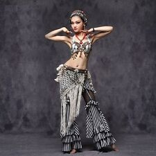 Tribal Style Blouse+Long Pants+Hip Belt 3pcs set Belly Dance Costumes Dancewear