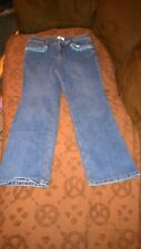 Ann Taylor Embellished Jeans Size 10P Dark Wash Pre-Owned with Blue Beading Pkts