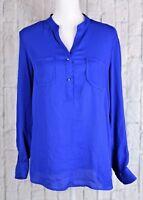 NY Collection Chiffon Blouse Top Pullover Shirt Henley Long Sleeve Blue Medium M
