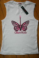 Hank made in Hollywood white cotton vest Glam Rock size Large crystals butterfly