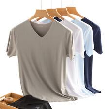 Homens legal Fina De Verão Decote V Camiseta Stretch Esportes Fitness Plus Size