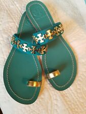 Tory Burch Turquoise & Gold Leather Val Sandals Size 7.5M