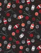 Yarn Skeins, Balls & Needles on Black Background C5277 Knitting Themed Fabric