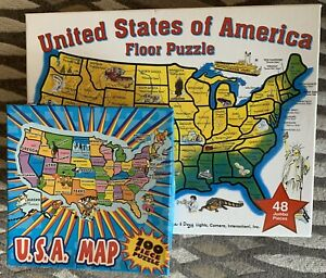 Melissa & Doug 48-Piece USA Map 2x3' Floor Puzzle + 100 Piece USA Map