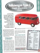 Volkswagen Type 2 1950 GERMANY DEUTSCHLAND ALLEMAGNE Car Auto FICHE FRANCE